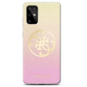 Guess Glitter 4G Circle Logo Hülle Samsung Galaxy S20 Gold / Pink GUHCS62PCUGLPGG