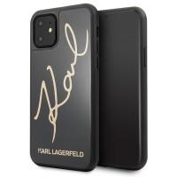 Karl Lagerfeld Signature Glitter Hülle iPhone 11 schwarz KLHCN61DLKSBK