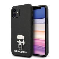 Karl Lagerfeld Ikonik Karl Hülle iPhone 11 schwarz Saffiano KLHCN61IKFBMBK