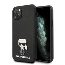 Karl Lagerfeld Ikonik Karl Hülle iPhone 11 Pro Max schwarz Saffiano KLHCN65IKFBMBK