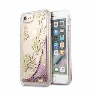Guess iPhone SE 2020 / iPhone 8 / 7 Hülle Palm Springs Glitter Liquid Rose Gold GUHCP7GLUPPI