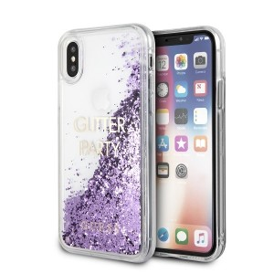 Guess Party Glitter Liquid Hülle iPhone Xs / X Lila GUHCPXGLUQPU