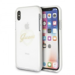 Guess Heart ShockProof Hülle iPhone Xs / X Gold GUHCPXSHGO