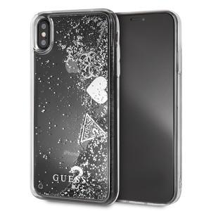 Guess Hülle Glitter Hearts Hülle iPhone Xs Max silber GUHCI65GLHFLSI