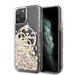 Guess iPhone 11 Pro Hülle Circle Liquid Glitter Gold GUHCN58LGGITDGO