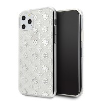 Guess 4G Peony Glitter Hülle / Cover iPhone 11 Pro Silber GUHCN58TPESI
