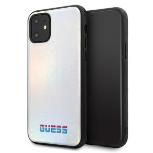 Guess Hülle / Cover Iridescent iPhone 11 Silber GUHCN61BLD