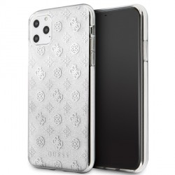 Guess 4G Peony Glitter Hülle iPhone 11 Pro Max Silber GUHCN65TPESI