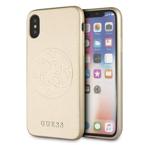 Guess Saffiano 4G Circle Logo Hülle iPhone X / Xs gold GUHCPXRSSASGO