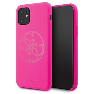 Guess iPhone 11 Silikon 4G Tone On Tone Case / Cover Hülle fuchsia