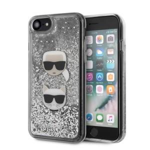 Karl Lagerfeld Glitter Karl & Choupette iPhone SE 2020 / 8 / 7 Hülle Silber KLHCI8KCGLSL