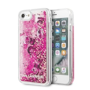 Karl Lagerfeld Hülle Glitter Floatting Charms iPhone SE 2020 / 8 / 7 Pink KLHCI8ROPI