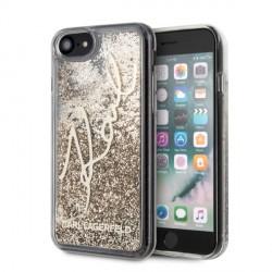 Karl Lagerfeld Glitter Signature Hülle iPhone SE 2020 / 8 / 7 Gold KLHCI8TRKSGO