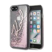 Karl Lagerfeld iPhone SE 2020 / 8 / 7 Glitter Signature Hülle rose gold