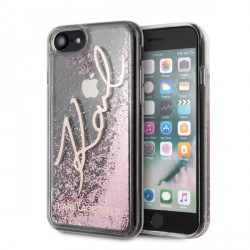 Karl Lagerfeld iPhone SE 2020 / 8 / 7 Glitter Signature Hülle rose gold