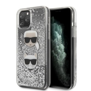 Karl Lagerfeld Glitter Karl & Choupette iPhone 11 Pro Hülle Silber KLHCN58KCGLSL