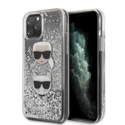Karl Lagerfeld Hülle Glitter Karl & Choupette iPhone 11 Pro Max Silber KLHCN65KCGLSL