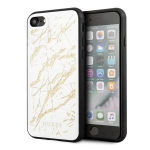 Guess iPhone SE 2020 / 8 / 7 Glitter Marble Glass Hülle Weiß GUHCI8MGGWH