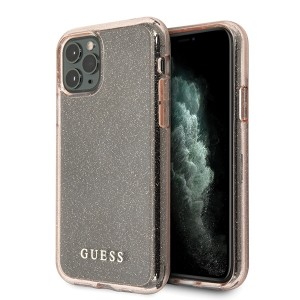 Guess iPhone 11 Pro Transparent Glitter Hülle pink GUHCN58PCGLPI