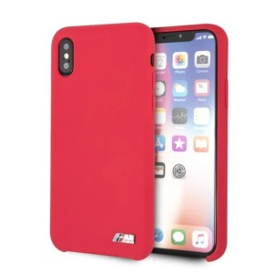 BMW iPhone XS / X Hülle Silicone M Collection Rot Innenfutter BMHCPXMSILRE