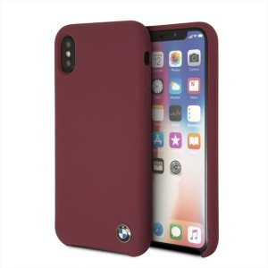 BMW iPhone XS / X Hülle Silicone M Collection Rot Innenfutter BMHCPXSILRE