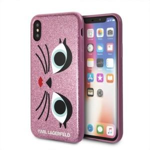 Karl Lagerfeld iPhone XS / X Hülle K-Paris Pink KLHCPXGLCHPI