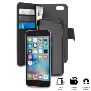 Puro iPhone SE 2020 / 8 / 7 Wallet Book Handytasche + Hülle 2in1 Schwarz