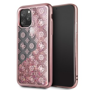 Guess iPhone 11 Pro 4G Peony Liquid Glitter Hülle Rose Gold GUHCN58PEOLGPI