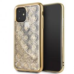 Guess iPhone 11 Hülle 4G Peony Liquid Glitter Gold GUHCN61PEOLGGO