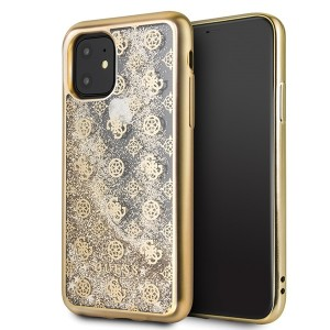 Guess iPhone 11 Hülle 4G Peony Liquid Glitter Gold GUHCN61PEOLGGO