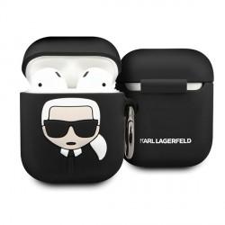 Karl Lagerfeld AirPods 1 / 2 Silicone Hülle Ikonik  schwarz KLACCSILKHBK