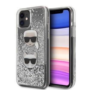 Karl Lagerfeld iPhone 11 Glitter Karl & Choupette Hülle silber KLHCN61KCGLSL