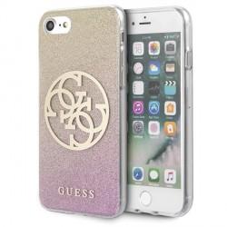 Guess iPhone SE 2020 / 8 / 7 Glitter Gradient 4G Circle Logo Hülle gold pink GUHCI8PCUGLPGG