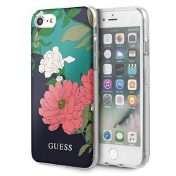 Guess Flower Shiny Collection N1 Hülle iPhone SE 2020 / 8 / 7 schwarz GUHCI8PCUTRFL01
