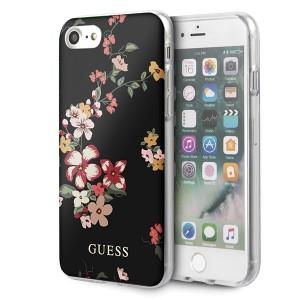 Guess Flower Shiny Collection N4 Hülle iPhone SE 2020 / 8 / 7 schwarz GUHCI8PCUTRFL04