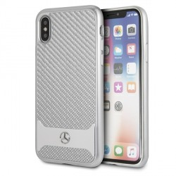 Mercedes iPhone Xs / X hard Hülle silver Real Carbon Dynamic MEHCPXHACASI