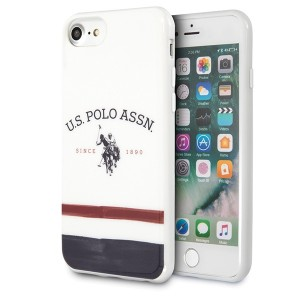 US Polo iPhone SE 2020 / 8 / 7 Hülle Tricolor Pattern weiß USHCI8PCSTRB