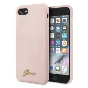 Guess iPhone SE 2020 / 8 / 7 Silikon Hülle Vintage Gold Logo Rose Innenfutter