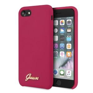 Guess iPhone SE 2020 / 8 / 7 Silikon Hülle Vintage Gold Logo Pink