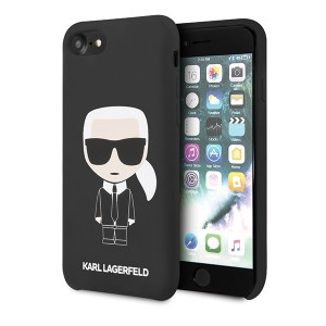 Karl Lagerfeld iPhone SE 2020 / 8 / 7 Hülle Silicon Iconic Innenfutter schwarz