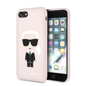 Karl Lagerfeld iPhone SE 2020 / 8 / 7 Hülle Silicon Karl Iconic Innenfutter Rose