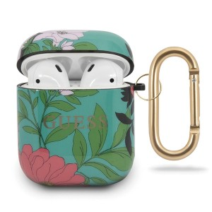 Guess Silikon Hülle AirPods 1 / 2 Flower N.1 grün Collection GUACA2TPUBKFL01