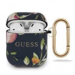 Guess Silikon Hülle AirPods 1 / 2 Flower N.3 blau Collection GUACA2TPUBKFL03
