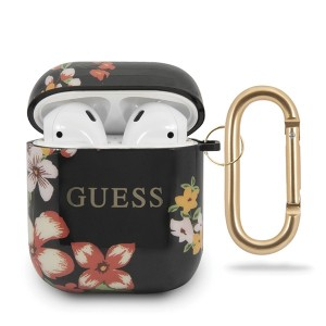 Guess Silikon Hülle AirPods 1 / 2 Flower N.4 schwarz Collection GUACA2TPUBKFL04