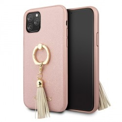 Guess iPhone 11 Pro Saffiano Ring Hülle Rose-Gold GUHCN58RSSARG