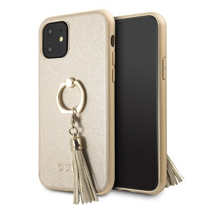 Guess iPhone 11 Saffiano Ring Hülle Gold GUHCN61RSSABE