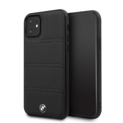 BMW iPhone 11 Signature Horizontal Lines Lederhülle BMHCN61PELBK