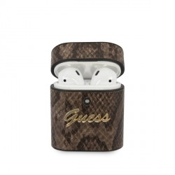 Guess AirPods 1 / 2  Cover / Case / Hülle Python Muster Braun