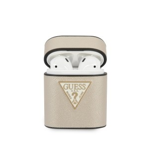 Guess AirPods 1 / 2 Cover / Case / Hülle Saffiano beige
