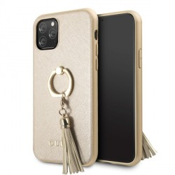 Guess iPhone 11 Pro Saffiano Ring Hülle Gold GUHCN58RSSABE